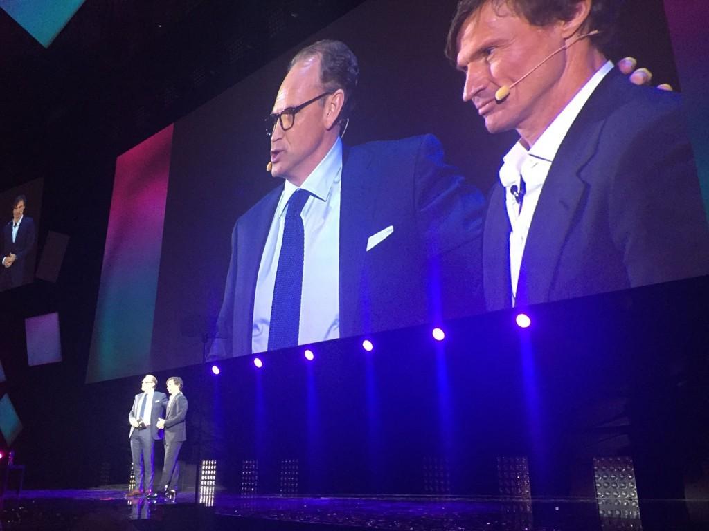 SILSETH OG STORDALEN: Torgeir Silseth og Petter A. Stordalen på scenen under VK 2015.