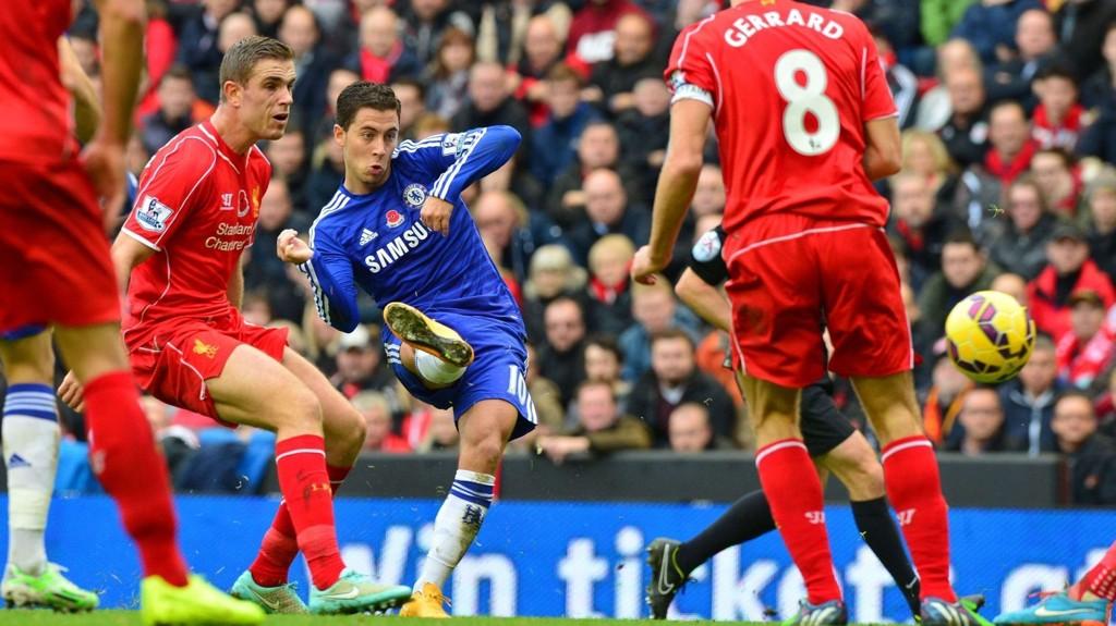 Eden Hazard og Chelsea gikk seierende av banen sist gang Chelsea gjestet Anfield.