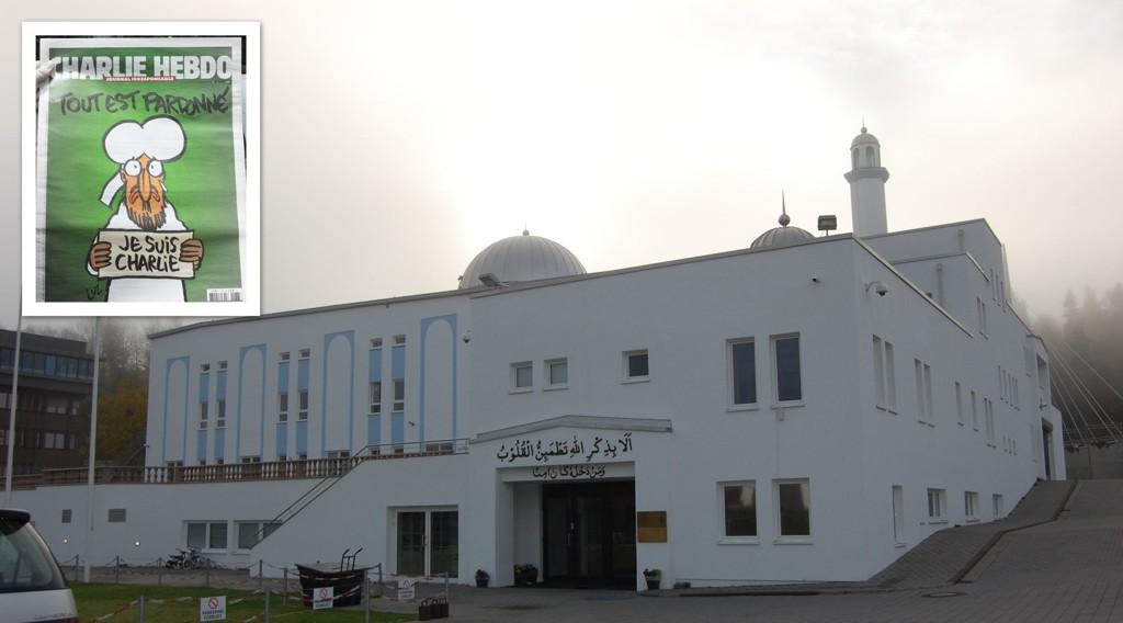 Norges største moské. Bait-un-Nasr-moskeen på Furuset svarer på Charlie Hebdos karikaturer me då dele ut gratis bok om profeten Mohammed.