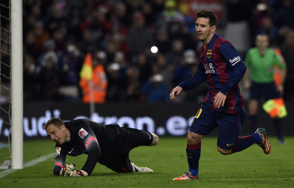 MÅL: Lionel Messi scoret mot Atletico Madrid.
