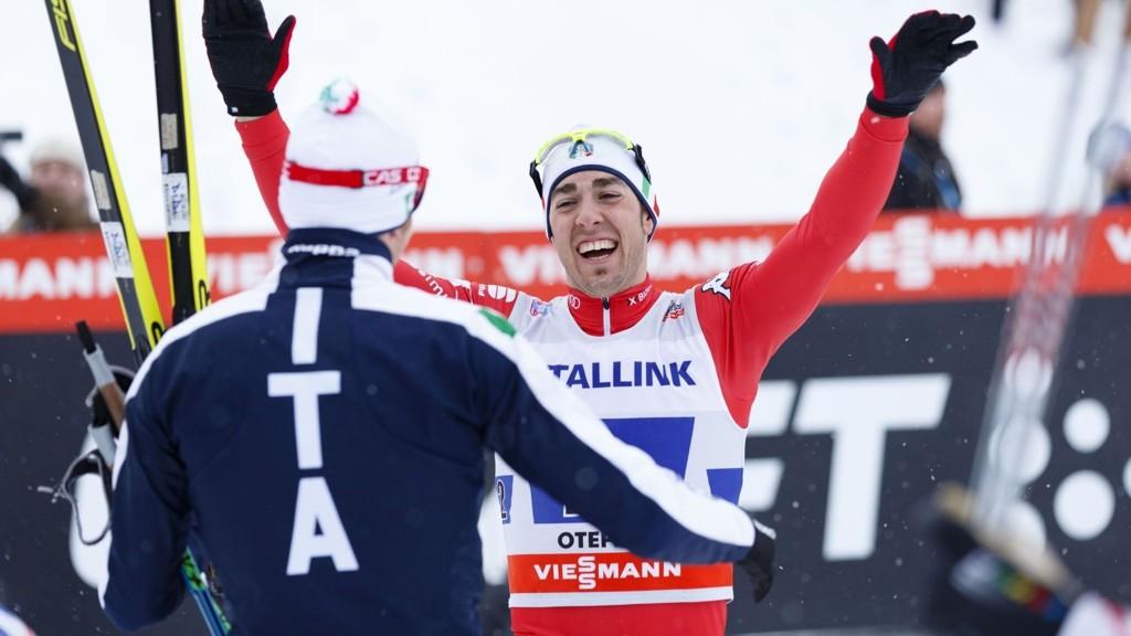 Italieneren Federico Pellegrino tok sin tredje seier på rappen i sprint fri teknikk i langrennsverdenscupen lørdag.