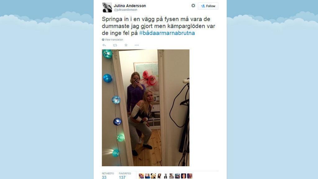 UHELDIG: Julina Andersson brakk begge armene på en høyst uvanlig måte.