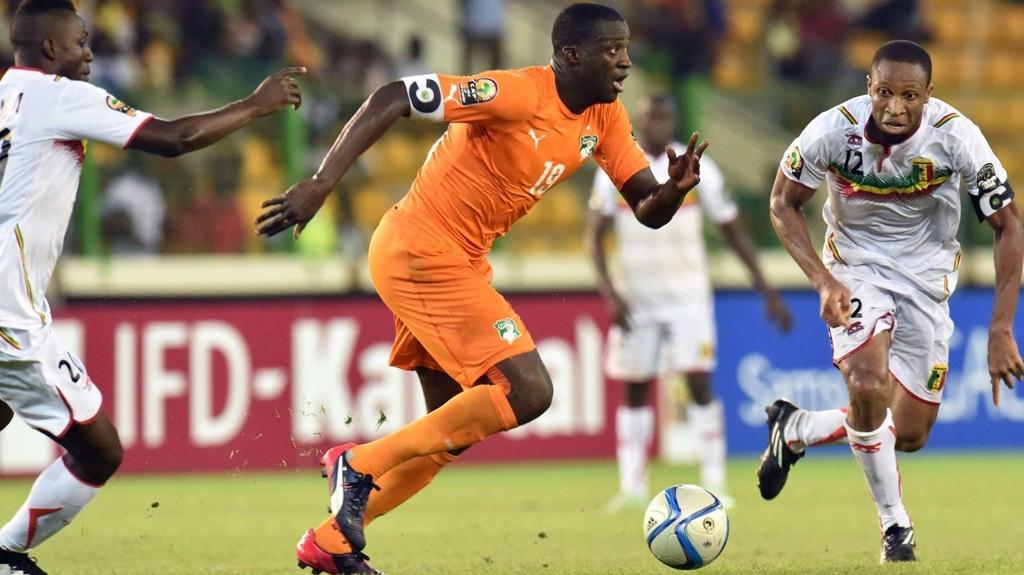 Elfenbenkystens kaptein Yaya Toure avbildet under 1-1-kampen mot Mali tidligere i mesterskapet.