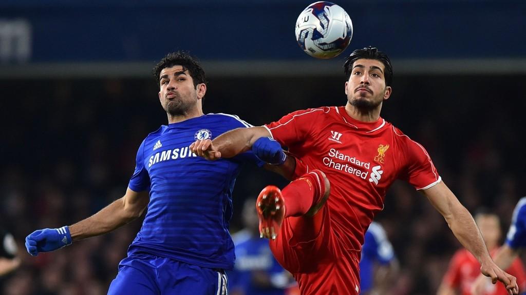 Chelsea-spissen Diego Costa soner for tiden karantene etter stemplingen av Liverpools Emre Can.