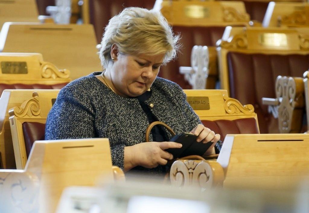 Statsminister Erna Solberg før den muntlige spørretimen i Stortinget onsdag 11.02.15