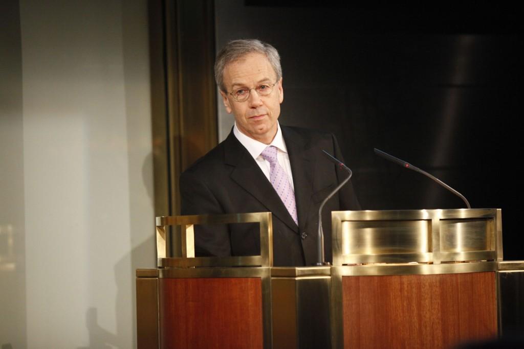 Sentralbanksjef Øystein Olsen under sin første årstale i 2012.