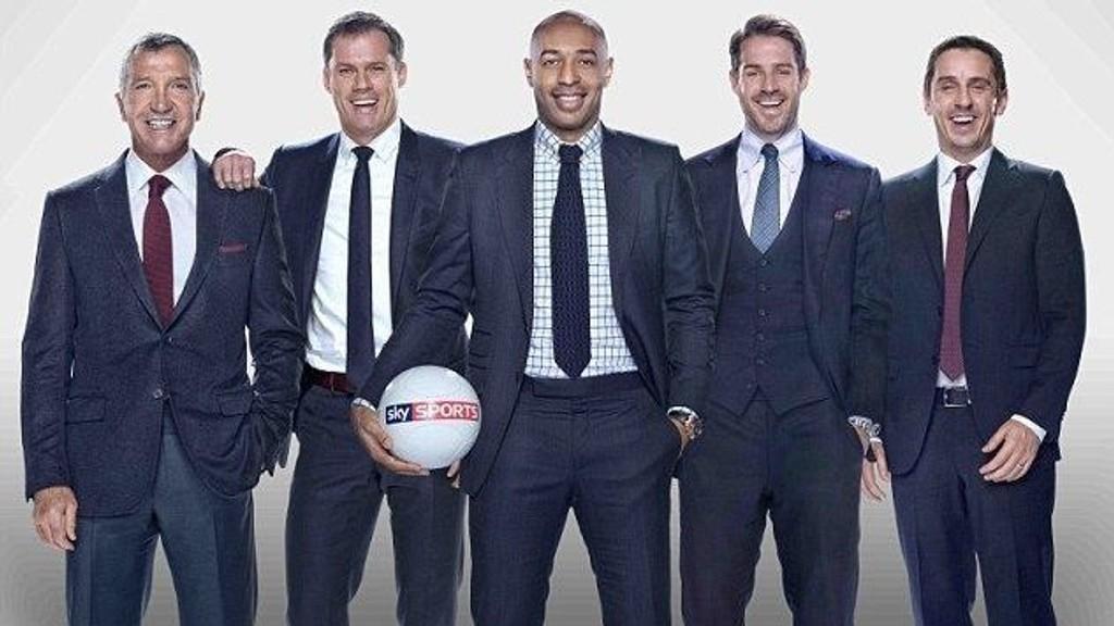 STJERNESPEKKET: Sky har skaffet seg et fint team, med Graeme Souness, Jamie Carragher, Thierry Henry, Jamie Redknapp og Gary Neville. Roy Hodgson ber nå Neville om å droppe TV-jobben og satse på en TV-karriere. FOTO: Sky Sports.