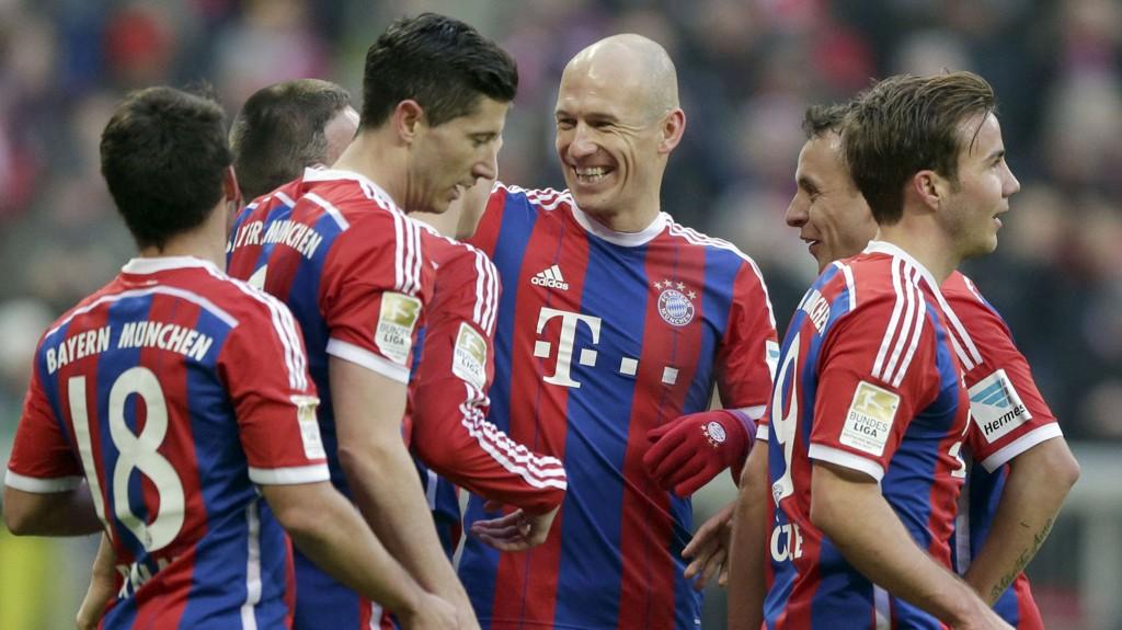 Bayern-stjernene hadde grunn til å glise under hjemmekampen mot Hamburg lørdag.