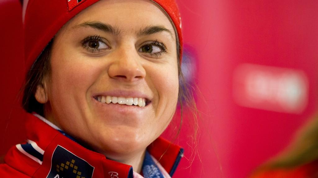 Falun, Sverige 20150220. Ski-VM 2015 Falun. Heidi Weng under et mediamøte i skiathlon langrenn ved Lugnet skistadion i Falun fredag morgen. Foto: Vegard Wivestad Grøtt / NTB scanpix