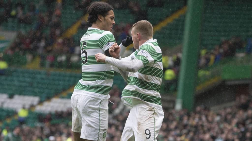 Virgil Van Dijk (t.v) og John Guidetti kan komme til å forsvinne fra Celtic til sommeren.
