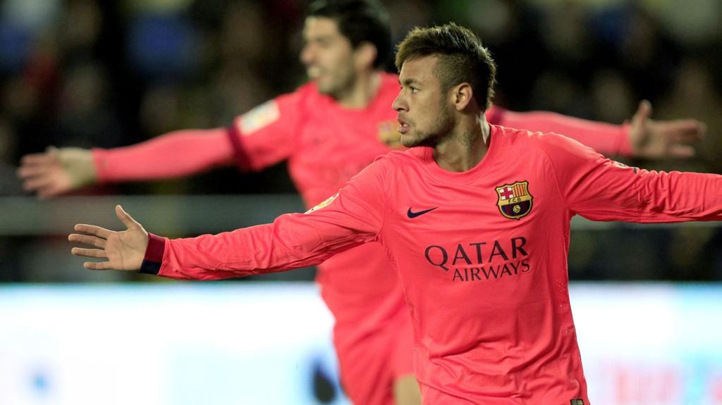 AVGJORDE: Neymar scoret to mål da Barcelona onsdag spilte seg fram til cupfinale. I bakgrunnen Luis Suárez, som også scoret.