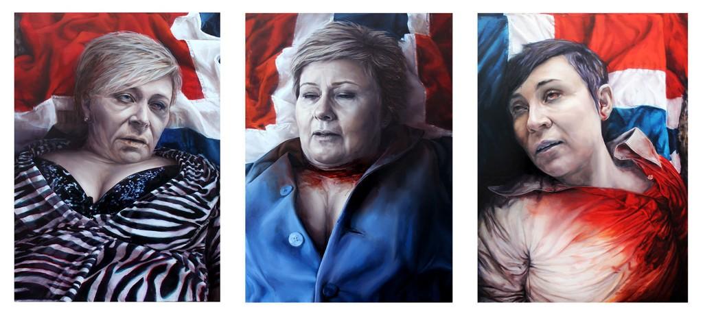 Kunstnerduoen stiller ut oljemalerier av finansminister Siv Jensen, statsminister Erna Solberg og forsvarsminister Ine Eriksen Søreide som døde, på kvinnedagen.
