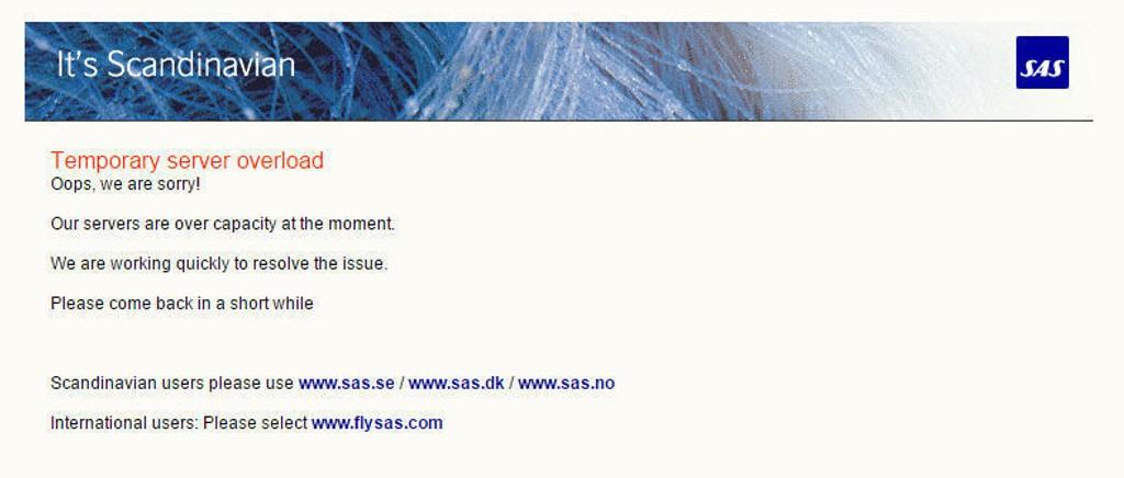 UNDER PRESS: SAS' hjemmeside er preget av stor pågang tirsdag.