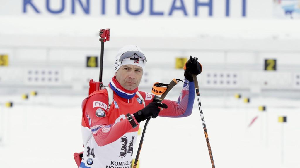 En konsentrert Ole Einar Bjørndalen før sist lørdags VM-sprint. Foto: Vidar Ruud / NTB scanpix