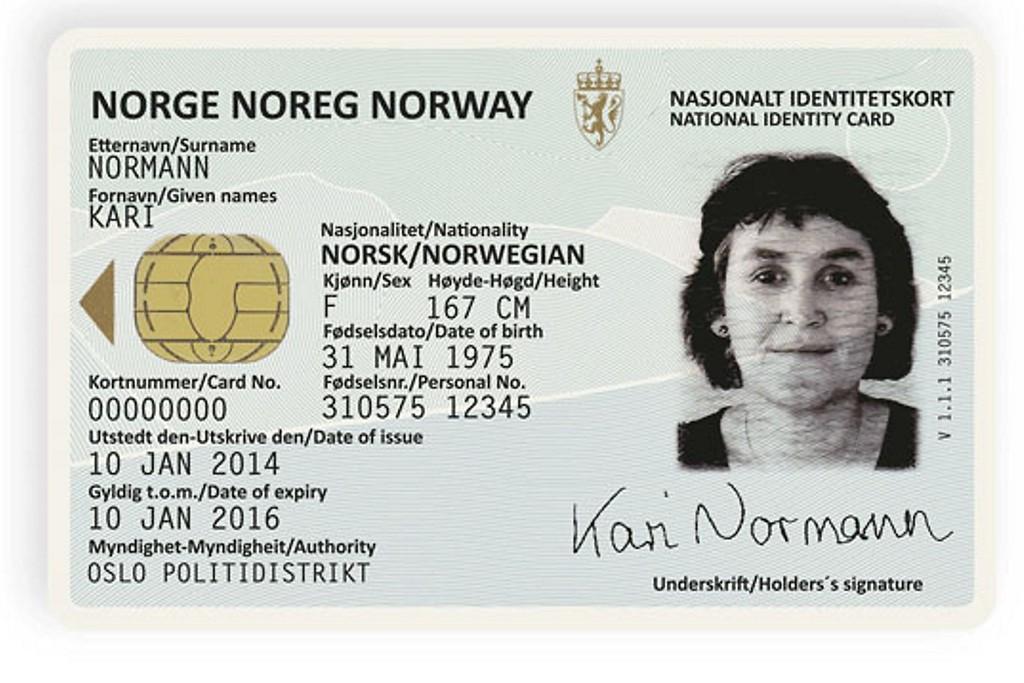 NYE ID-KORT: Regjeringen fremmet fredag et lovforslag som skal sikre innføring av nasjonale ID-kort som vil kunne erstatte passet på reise innenfor Schengen og Europa. Og slik kan forsiden av det nye ID-kortet bli seende ut. Kortet er utarbeidet av Neue Design Studio.