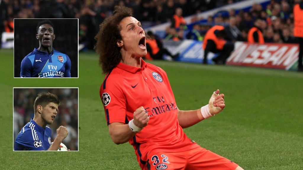 JUBLER: David Luiz, Danny Welbeck og Klaas-Jan Huntelaar scoret denne uken mot gamleklubben sin.