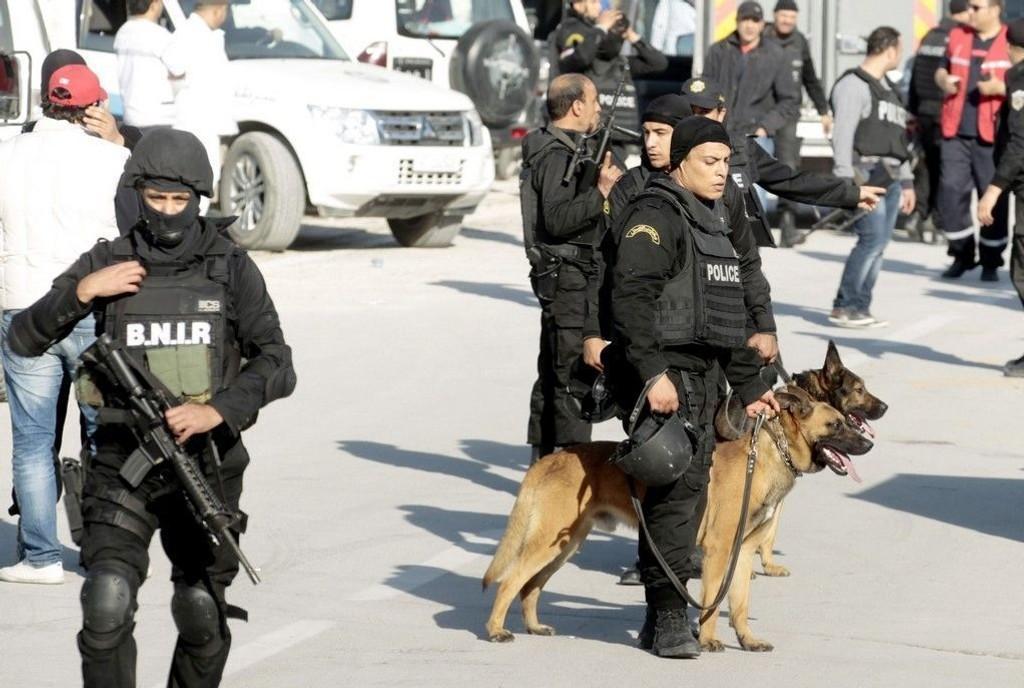 Politifolk med hunder under terroraksjonen ved nasjonalmuseet i Tunis.