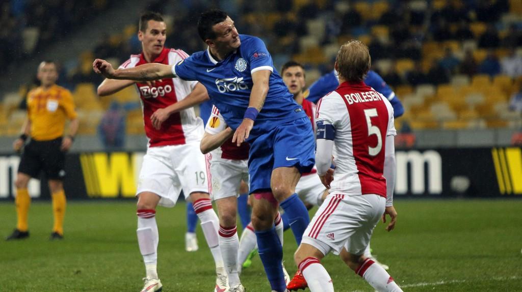 Ajax har 0-1 å ta igjen etter det første møtet med ukrainske Dnipro i åttedelsfinalen i Europa League.