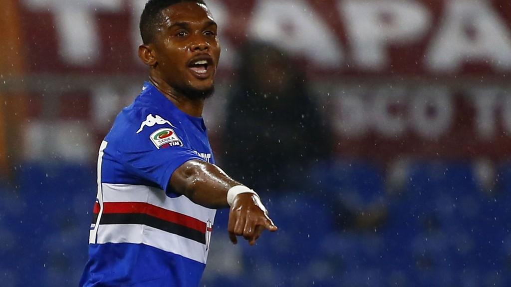 Samuel Eto'o har funnet seg vel til rette i Sampdoria. REUTERS/Tony Gentile (ITALY - Tags: SPORT SOCCER)