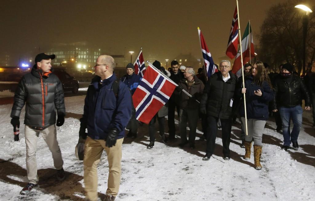 Pegida-marsjen ved Rådhuset i Oslo i januar samlet rundt 190 personer.