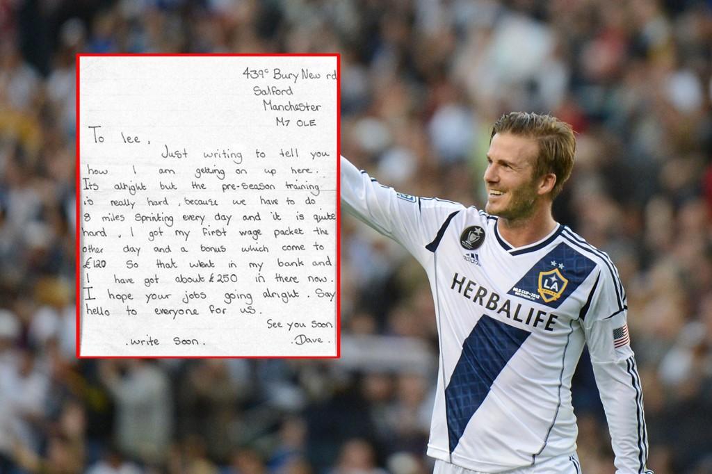 SKREV BREV: Et brev fra en ung David Beckham til vennen Lee er funnet, og her kommer det fram hvor mye da 16-årige Beckham fikk i sin første lønning.
