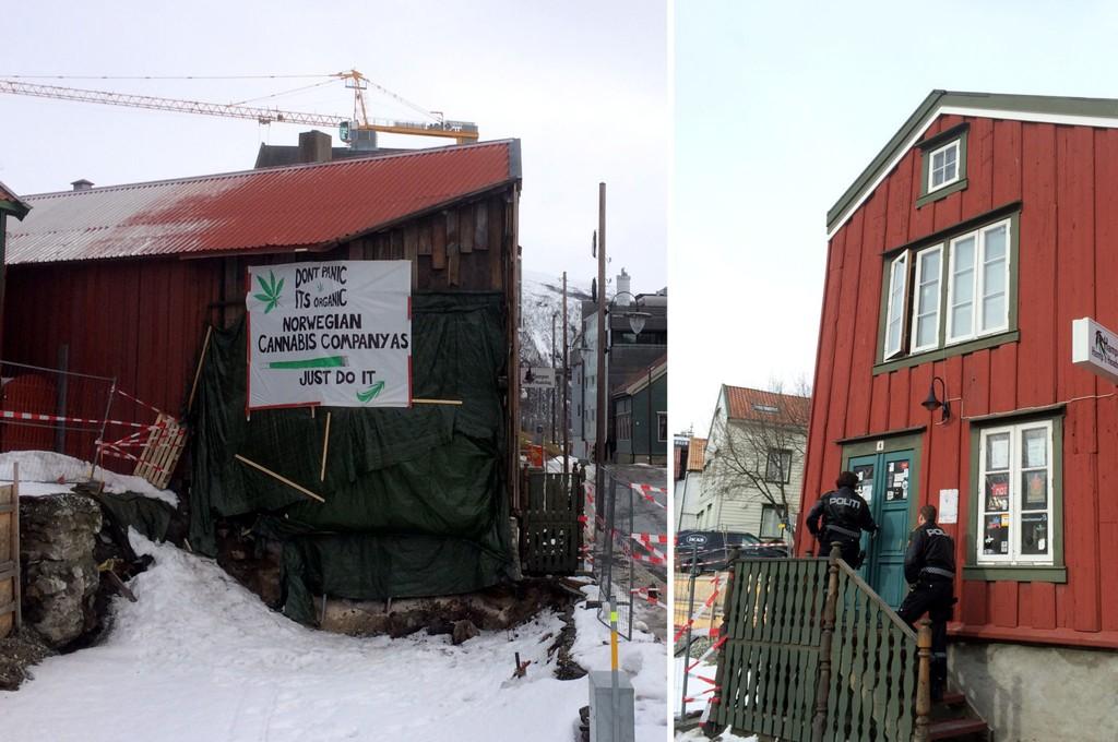 NYSGJERRIG: I formiddag besøkte politiet denne forretningen i Tromsø, for å få innehaveren til å fjerne skiltet som henger på husveggen (bildet til venstre).