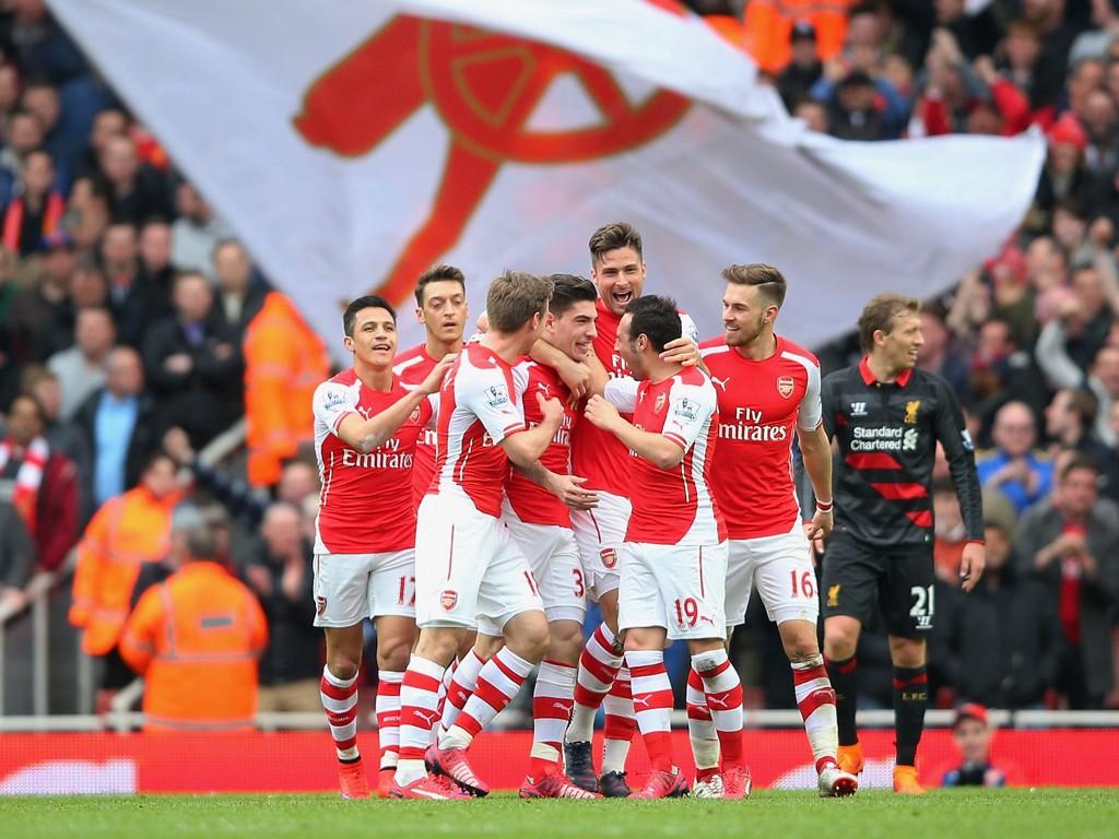 MÅLSKRED: Tre kjappe Arsenal-mål før pause gjorde det meget vanskelig for Liverpool å få med seg poeng fra Emirates lørdag.