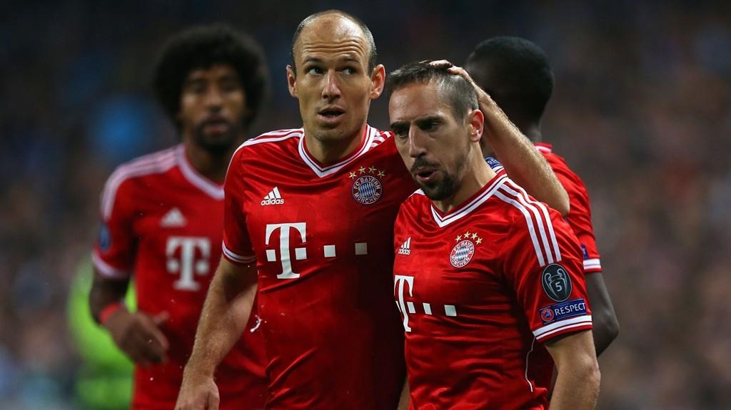 Verken Franck Ribery (til høyre) eller Arjen Robben blir å se i Bayern Münchens lagoppstilling mot Bayer Leverkusen i onsdagens cupkamp.