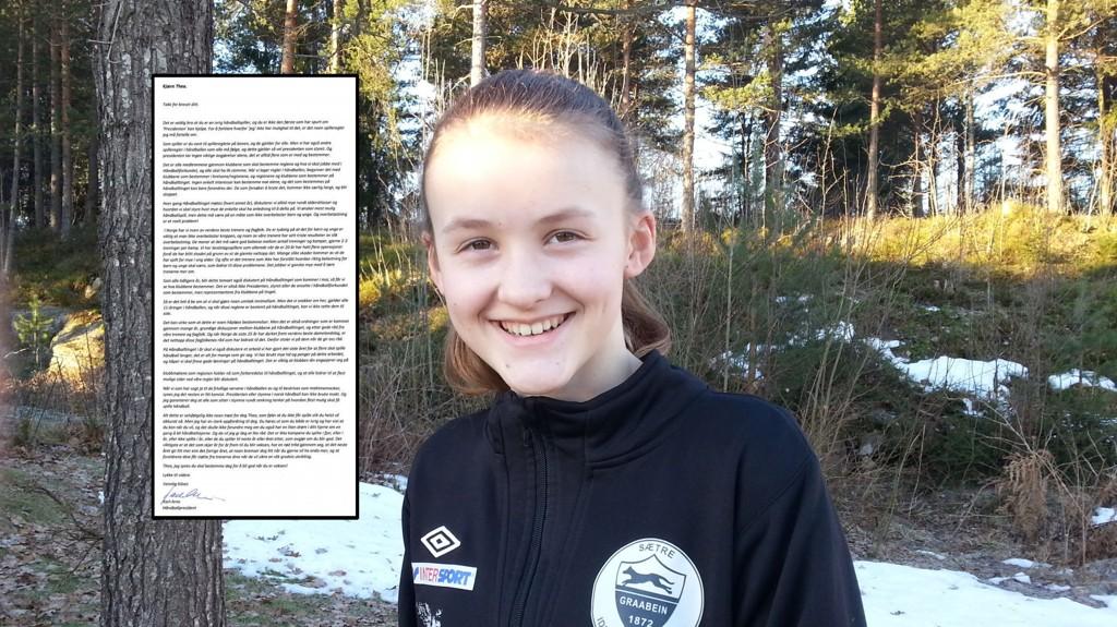 FIKK SVAR: Like før påske mottok Thea Andresen (12) svar på brevet hun sendte håndballpresident Karl-Arne Johannessen.
