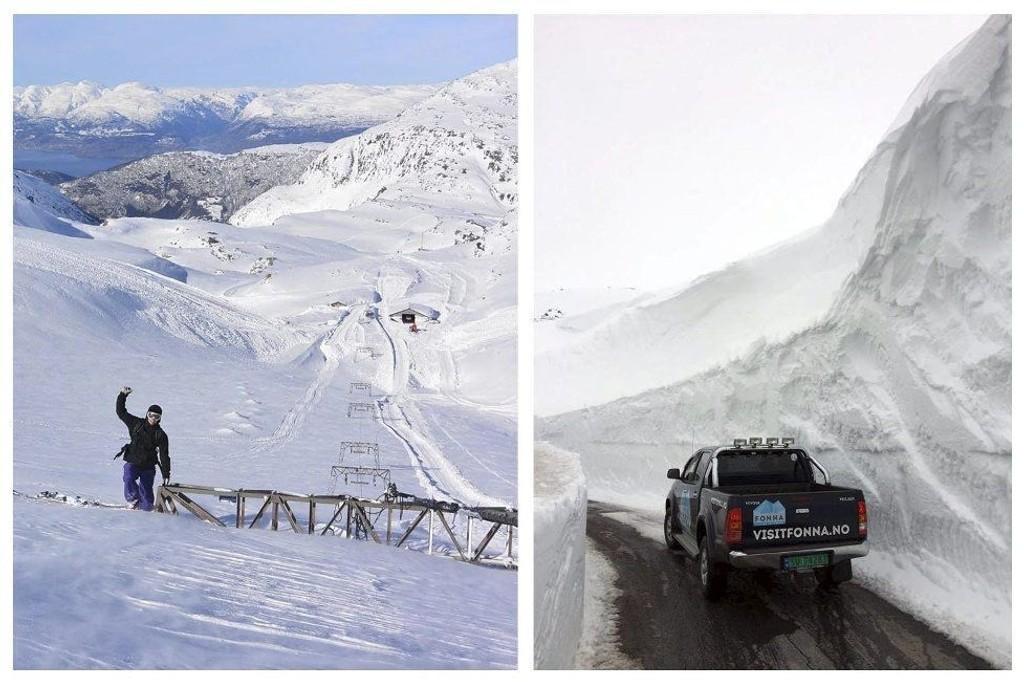 Snømengdene er ekstreme i år. Skiheisen må graves frem og brøytekantene er over 12 meter høye enkelte steder. Bildet til høyre er tatt i fjor, i år er brøytekantene enda høyere.