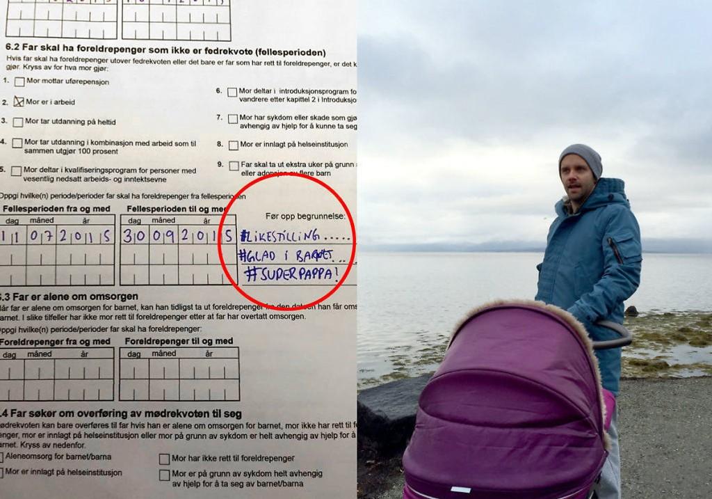 Geir-Arne Blix Johansen ble sjokkert da han skulle fylle ut NAV-skjemaet og måtte gi en begrunnelse på hvorfor far skal være hjemme med barnet i fellesperioden. Foto: Privat