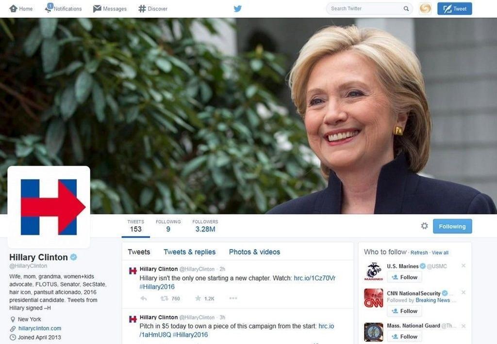 Hillary Clinton ble nevnt rundt 7.000 ganger i minuttet på sosiale medier etter at hun kunngjorde sitt kandidatur søndag.