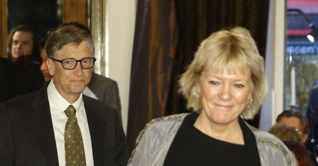 Civita-leder Kristin Clemet fulgt av Bill Gates under et Civita-møte i oktber 2014.