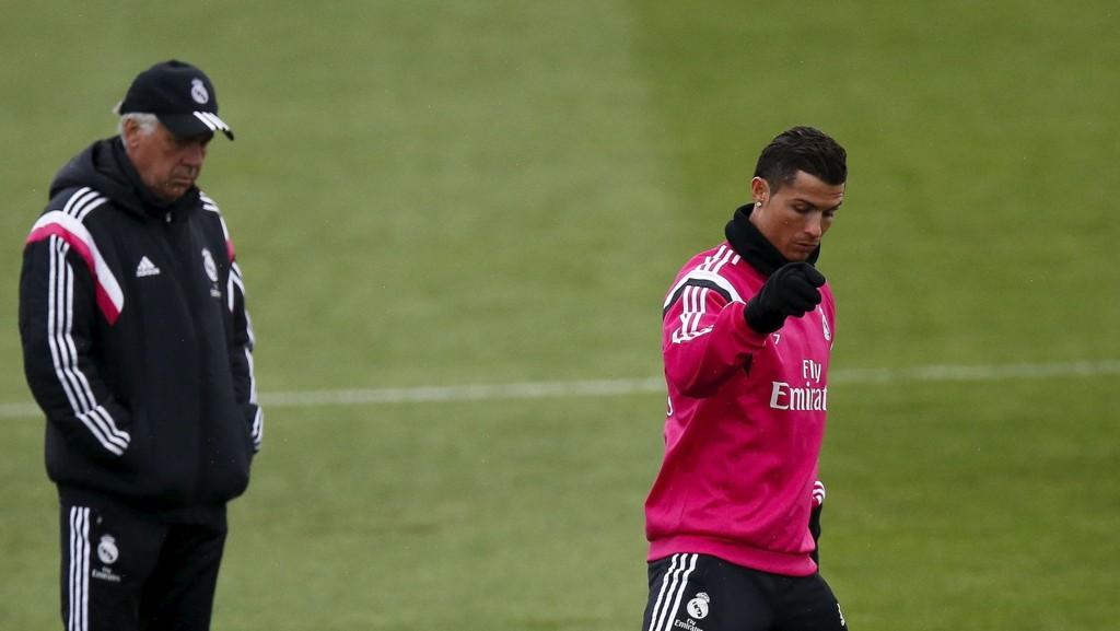 REVANSJELYSTNE: Carlo Ancelotti og Cristiano Ronaldo er klare for revansje mot Atlético Madrid i Champions League.