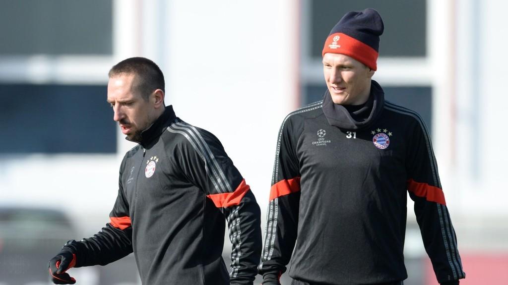 SKADET: Franck Ribery og Bastian Schweinsteiger må stå over møtet med Porto i Champions League.
