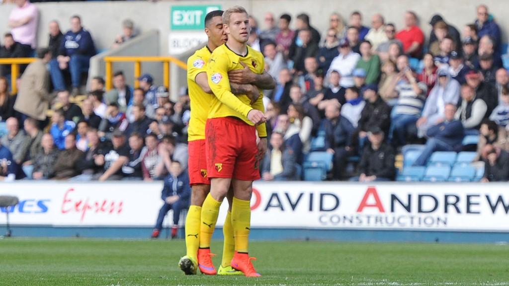 Matej Vydra (til høyre), Troy Deeney (til venstre) og tidligere Lyn-spiss Odion Ighalo (ikke på bildet) har scoret til sammen 53 seriemål for Watford denne sesongen.