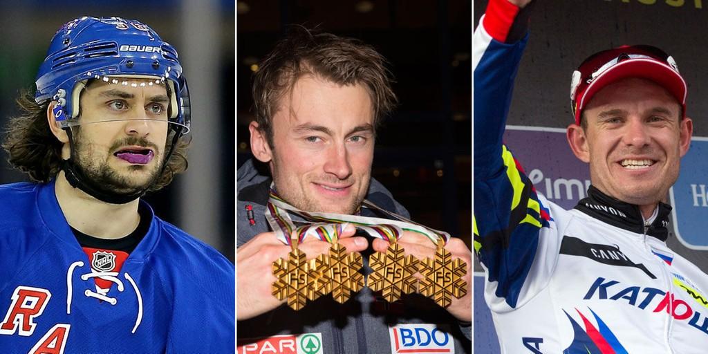 NORSKE STJERNER: Mats Zuccarello, Petter Northug og Alexander Kristoff er tre av Norges aller beste mannlige idrettsutøvere.