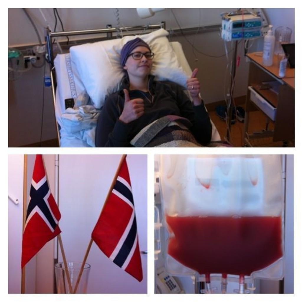 Anniken Golf Rokseth fikk stamceller fra en donorbenmarg 28. februar 2013. Personalet flagger bestandig denne dagen, for det er mye logistikk og arbeid som ligger bak en slik transplantasjon.