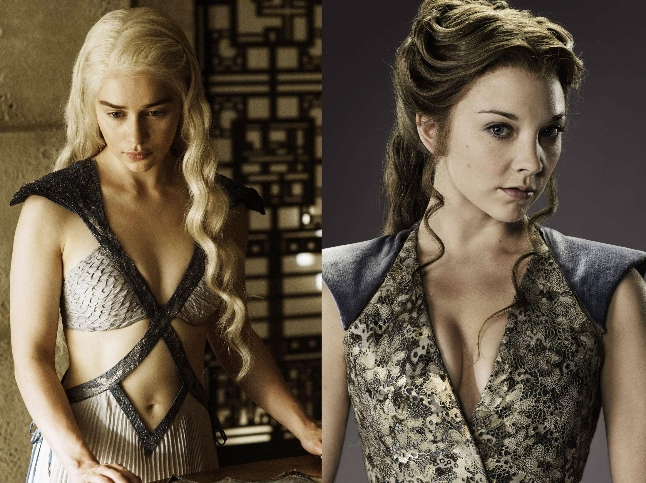 MAKTSYKE OG SEXY: Emilia Clarke i rollen som Daenarys Targaryen og Natalie Dormer i rollen som Margaery Tyrell regnes for å være to av de mest sexy kvinnene i den storslåtte HBO-serien Game of Thrones.
