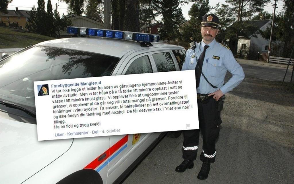 Dag Harald Drevsjø er leder for forebyggende avsnitt på Manglerud politistasjon i Oslo. I fjor høst publiserte de en sjokkerende melding om ungdommers festvaner på Facebook.