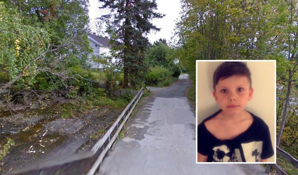 REDD: Hysen Valentin Mushkolaj (7) kom hjem fra skolen med opprevet t-skjorte etter at han skal ha blitt angrepet av en hund ved denne brua. Foto: privat/Google