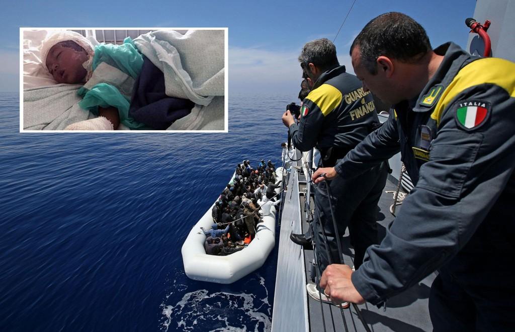 FIKK HJELP: En gruppe flyktninger får hjelp av den italienske kystvakten utenfor Libyas kyst torsdag. Lille Dina (innfelt) ble reddet etter en farefull ferd på Middelhavet siste uke.