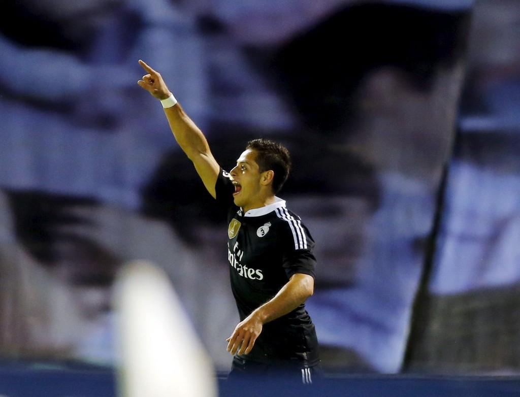 TOMÅLSSCORER: Chicharito jubler for sitt første av to mål mot Celta Vigo på søndag.