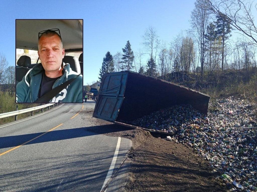 FALT AV: Containeren var lastet med tomgods. Mesteparten av innholdet veltet ut i fallet fra vogntoget, mens Bjørn Sigve Bilstad fra Svarstad kjørte bak.