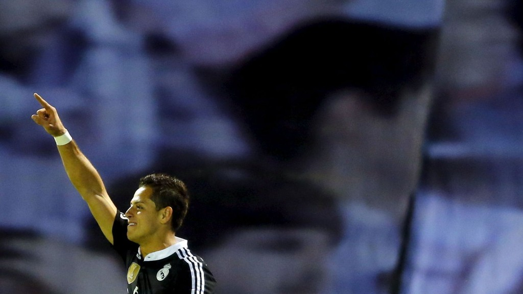 REAL MADRIDS Javier Hernandez feirer scoring mot Celta Vigo 26. april.