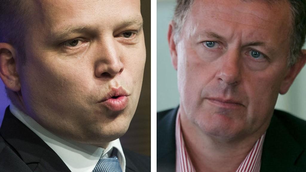 UENIGE: Senterpartiets leder Trygve Slagsvold Vedum og Nettavisen-redaktør Gunnar Stavrum møttes til dyst i NRKs Debatten torsdag kveld.