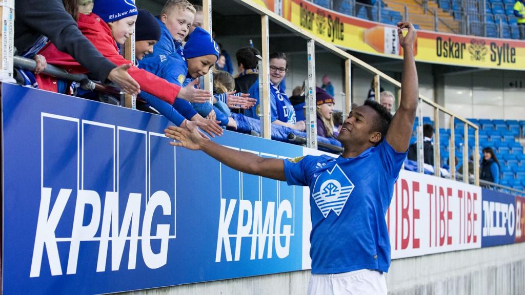Ola Kamara og Molde tar imot Start hjemme på Aker stadion søndag kveld. Foto: Svein Ove Ekornesvåg / NTB scanpix