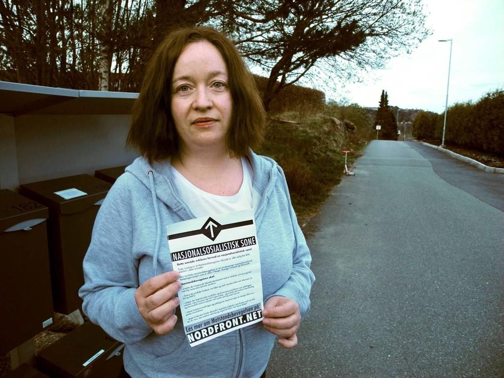 REAGERER: Reidun Skoge tar avstand for flygebladet som endte i postkassen hennes.
