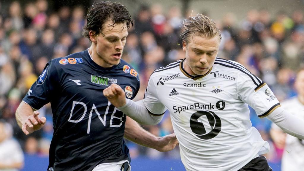 Strømsgodsets Jørgen Horn (her i duell med RBKs Alexander Søderlund) har vært svært skadeforfulgt det siste året, og midtstopperen må stå over onsdagens viktige kamp mot Odd.