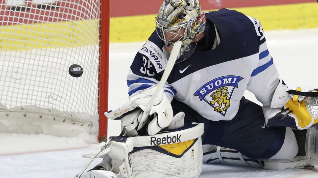 Finlands keeper Pekka Rinne har storspilt i VM hittil.(AP Photo/Sergei Grits)